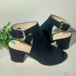 Nine West Deep Navy Blue Block Heel Sandals 7.5